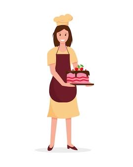 Bäckerin mit schönem kuchen in der hand. beruf menschen konzept.