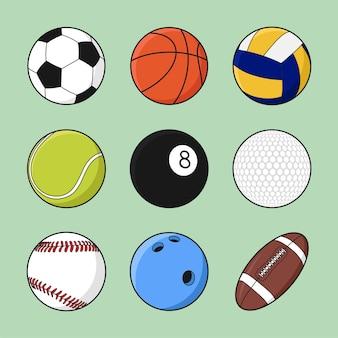 Bälle für den sport stellen flache karikatur-hand gezeichneter vektor lokalisiert ein