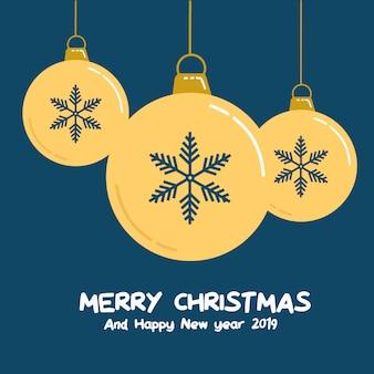 Bälle-grußkartenvektor des goldschnee-frohen weihnachten