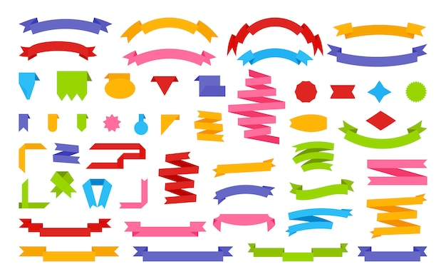 Bänder flache set dekorative cartoon papier banner. retro flagge, leeres textband preisschild, verkaufsetikett