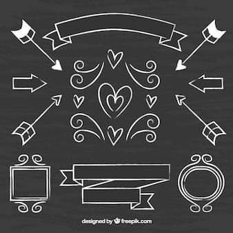 Bänder, rahmen und pfeile sammlung in tafel-stil