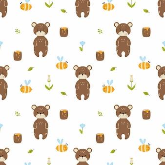 Bär, biene und honig. nahtloses muster zum nähen von kinderkleidung, drucken auf stoff und verpackungspapier. universaltapete bei kindern. design für jungen und mädchen.
