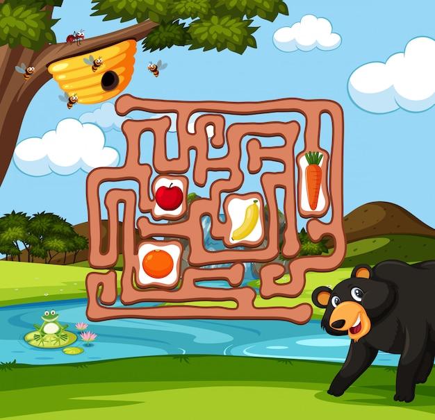 Bär, der bienen-labyrinthspiel findet