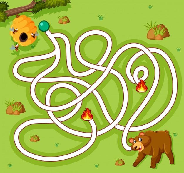 Bär, der honigspielschablone findet