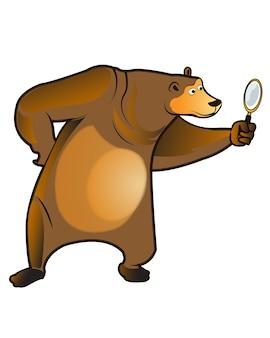 Bär, der lupen-karikatur-maskottchen hält