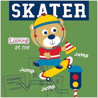 Bär, der lustigen tiercartoon des skateboards spielt