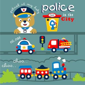 Bär die lustige tierkarikatur der polizei