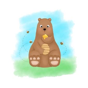 Bär frisst honig, umgeben von bienenaquarellillustrationsvektor. nette kinderzimmerkarikaturzeichnung.