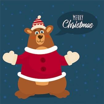 Bär gekleidet wie der weihnachtsmann