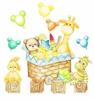 Bär, giraffe, kaninchen, pferd, zebra, korb, für spielzeug. aquarellclipart im karikaturstil