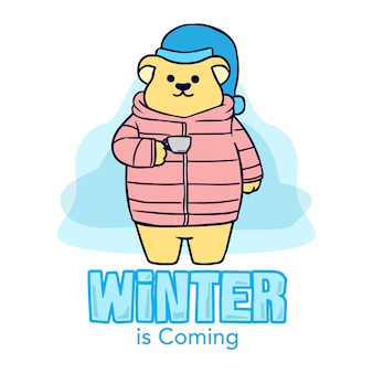 Bär hand gezeichnete illustration des winters
