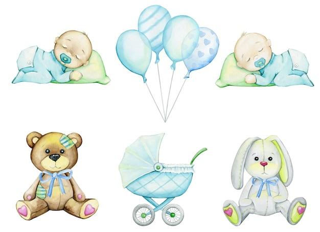 Bär, hase, baby, luftballons, kinderwagen. aquarell, satz.