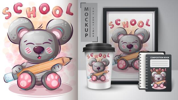 Bär liebt es, illustration und merchandising zu studieren