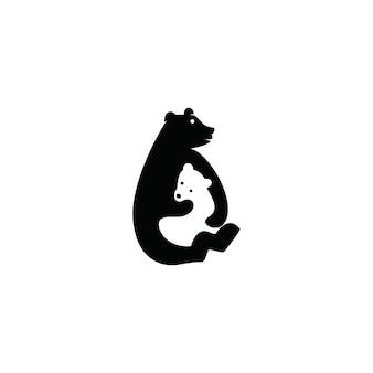 Bär logo negativen raum konzepte vorlage download