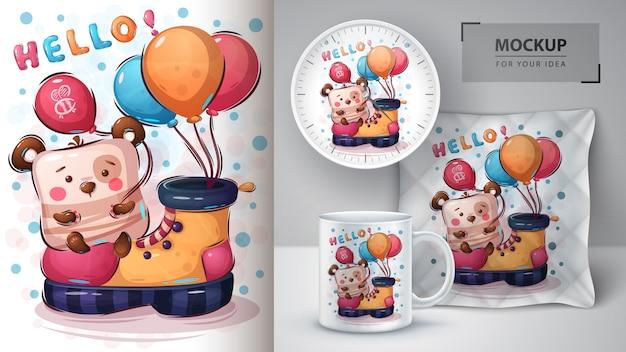 Bär mit ballonplakat und merchandising