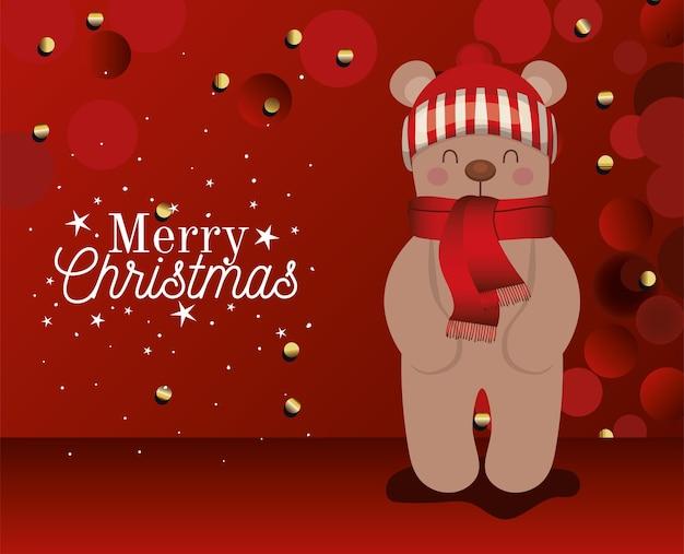 Bär mit einem hut und frohen weihnachtsbeschriftungen auf roter hintergrundillustration