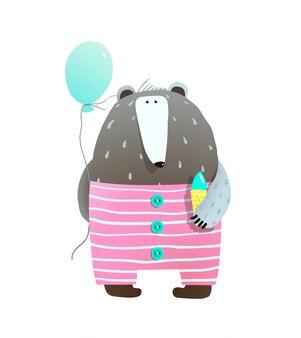 Bär mit eis und ballon
