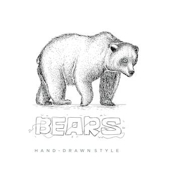 Bär mit stil in der handzeichnung, tierillustration sieht realistisch aus, schwarz-weiß abstrakt