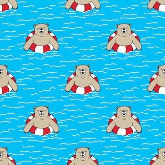 Bär nahtlose muster schwimmring