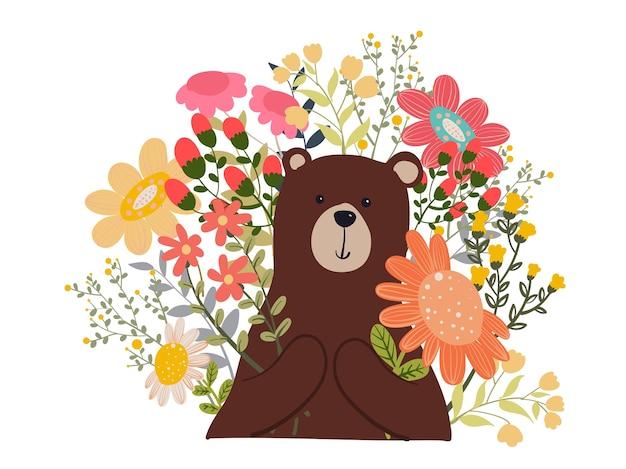 Bär polar mit blumen-gekritzel-illustration