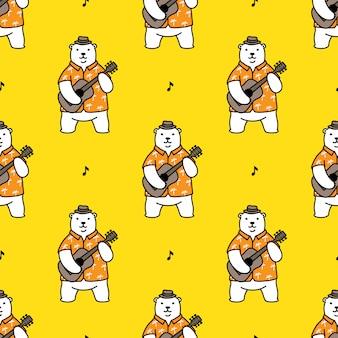 Bär polar nahtlose muster gitarre