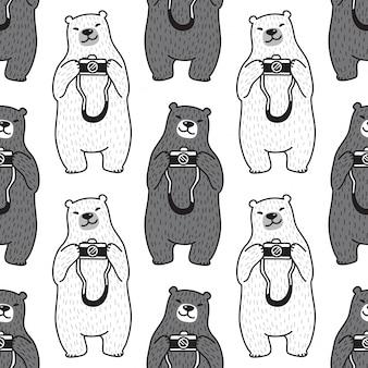 Bär polar nahtlose muster kamera