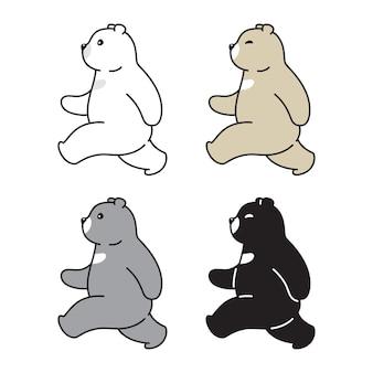 Bär polar-teddy-cartoon-figur zu fuß