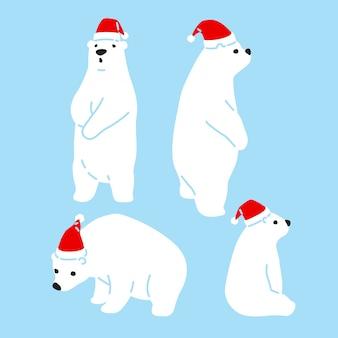 Bär polar weihnachten santa claus hut cartoon
