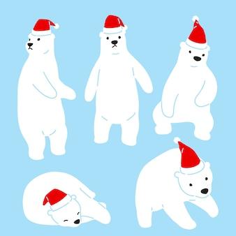 Bär polar weihnachtsmann weihnachtsmann hut charakter cartoon
