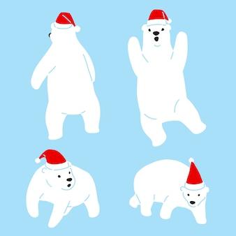 Bär polar weihnachtsmann weihnachtsmann hut zeichentrickfigur
