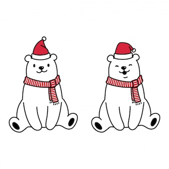 Bär polar weihnachtsmann