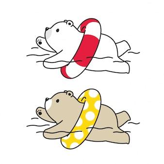 Bär polarschwimmbad ring illustration
