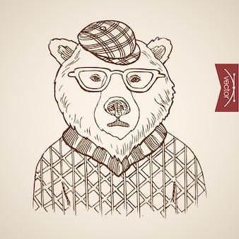 Bär porträt hipster stil menschliche kleidung zubehör tragen pullover brille hut.