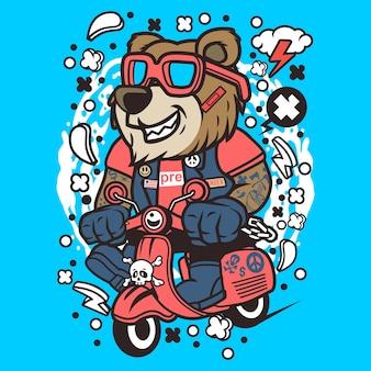 Bär scooterist cartoon