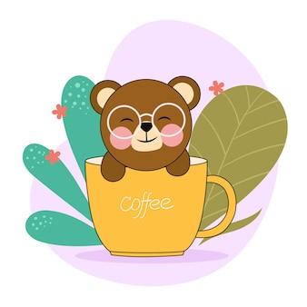 Bär sitzt in einer kaffeetasse