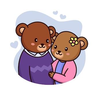 Bär süßes paar mit herzen