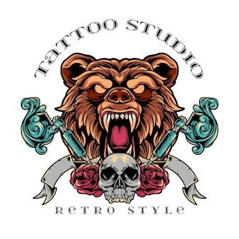 Bär tattoo studio retro-stil