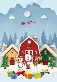 Bär und freunde mit weihnachtsgeschenken im dorf