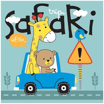 Bär und giraffe auf der lustigen tierkarikatur des autos