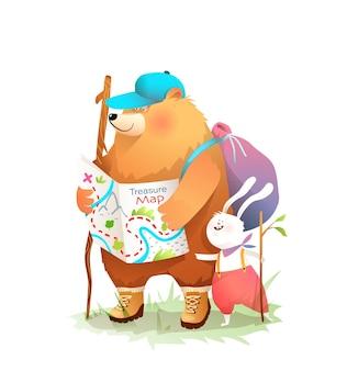 Bär und hase machen abenteuer im wald. tierforscher halten karte und rucksack im wald.