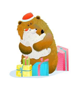 Bär und jungtier feiern weihnachten neu- oder neujahr