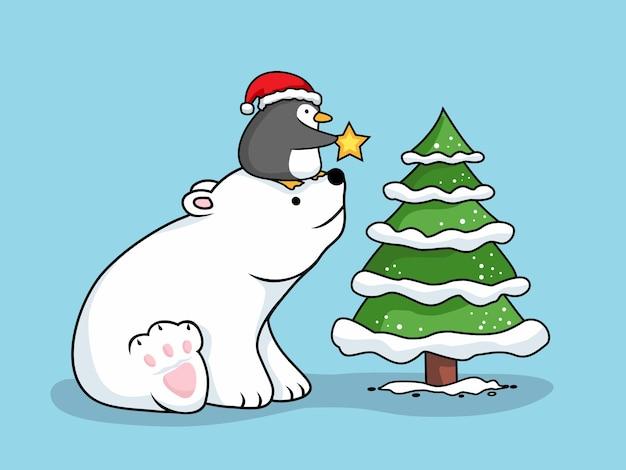 Bär und pinguin cartoon frohe weihnachten