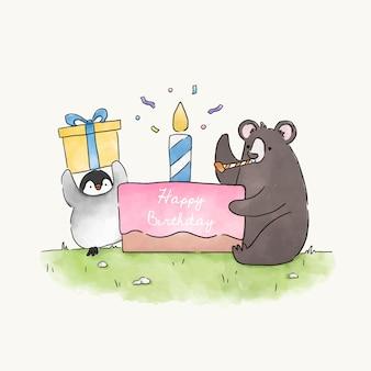 Bär und pinguin, die eine geburtstagsfeier haben