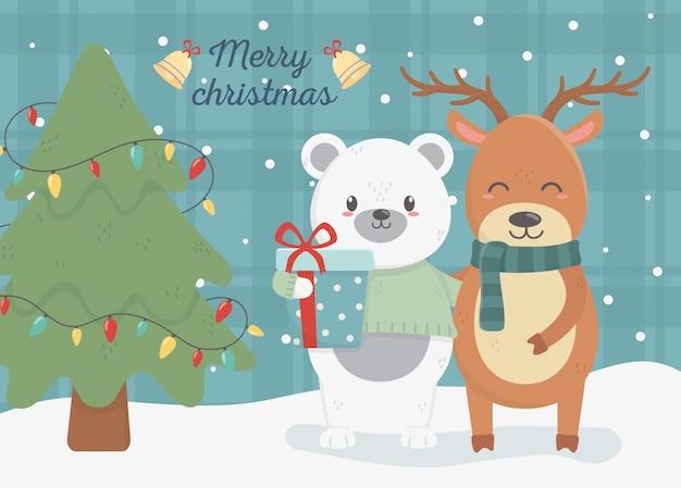 Bär und rotwild mit geschenk- und baumillustration