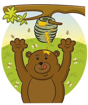 Bär versucht, honig hintergrund zu fangen