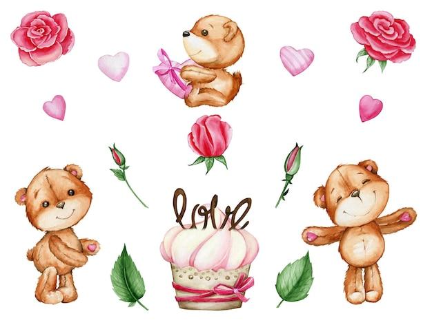 Bären, herzen, rosen, kuchen. aquarell gesetzt, im karikaturstil, auf einem isolierten hintergrund, für den valentinstag.