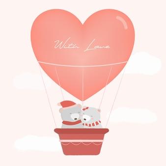 Bären in einem liebesballon mit heller farbe
