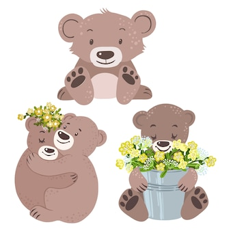 Bären mit sträußen aus gelben blüten