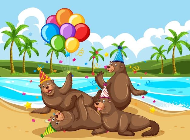 Bärengruppe in der partythema-zeichentrickfigur am strand