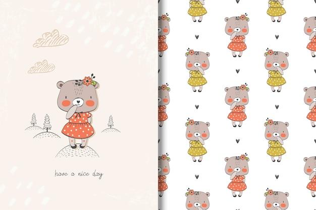 Bärenkarte des kleinen mädchens und nahtloses muster
